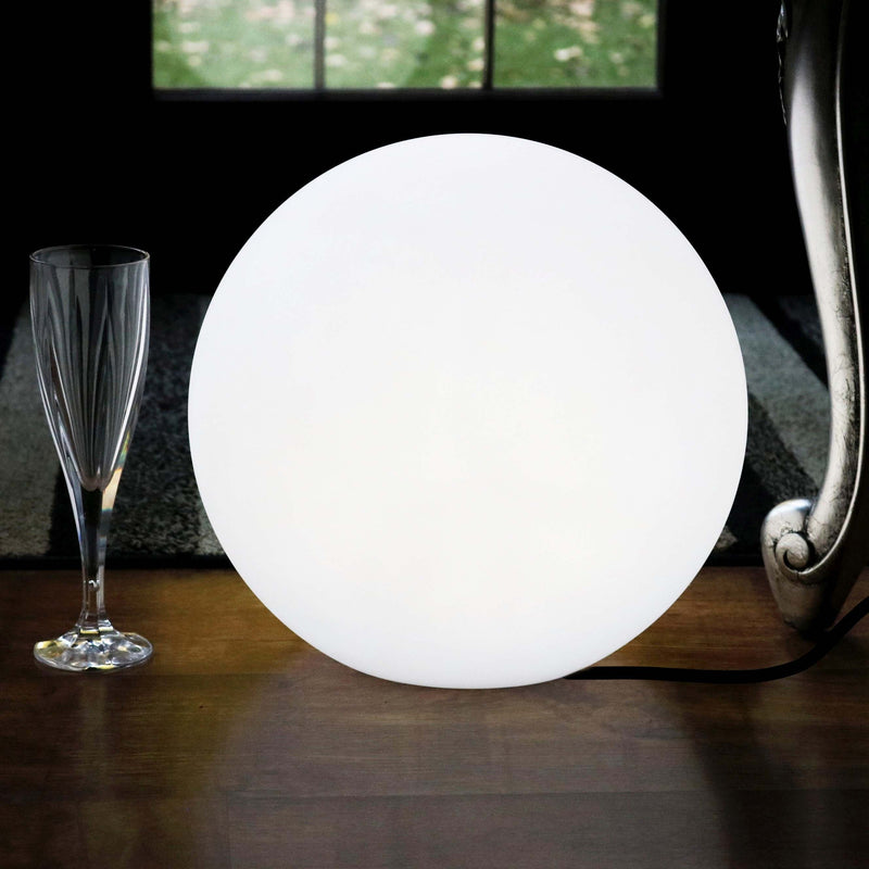 30cm Modern Ball Table Lamp, Dimmable White Mains Powered E27