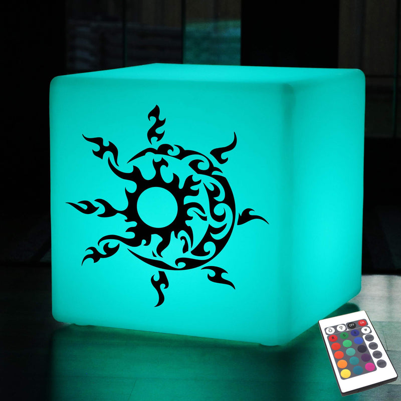 Unique Light Box, Living Room Multicolour Wireless Floor Lamp Stool for Event, Cube , Sun and Moon Gift Light