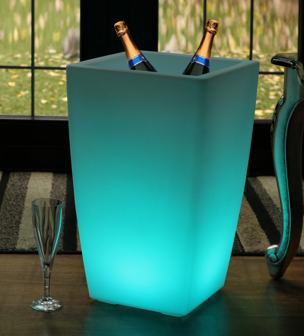 50cm Floor Standing LED Ice Champagne Bucket Wine Cooler, Outdoor Garden Stand Bottle Cooler