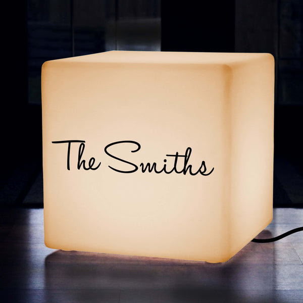 Personalised Lightbox, Lounge Lightbox Up Seat for Wedding, Cube 60 cm, E27, Warm White