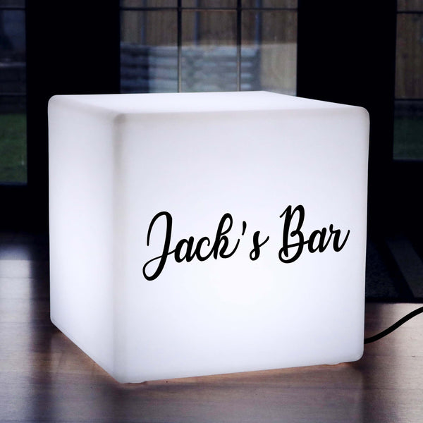 Unique Customised Light Box, Bedroom Light Box Up Stool for Event, Cube 50 x 50 cm, E27, White