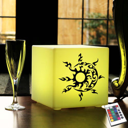 Hand Crafted Thoughtful Gift Light, Lounge Dimmable Table Lamp for Hotel, Cube , Mains Powered, Sun and Moon Lamp