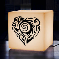 Original Handcrafted Light Gift for Him, Lounge Illuminated Stool for Decoration, Cube , E27, Warm White, Love Heart Gift Lamp