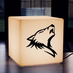 Hand Made Gift Light for Her, Lounge Stool Seat Furniture for Night Club, Cube , E27, Warm White, Wolf Head Gift Light