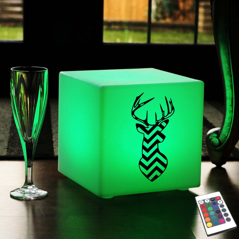Creative Handmade Light Gift for Him, Waterproof Multi-Colour Cordless Table Lamp for Restaurant, Cube , Deer Head Striped Gift Light