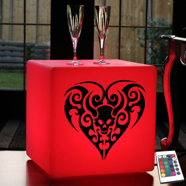Original Light Gift for Him, Living Room Dimmable Floor Lamp Stool for Wedding, Cube , Mains Powered, Skull Heart Light