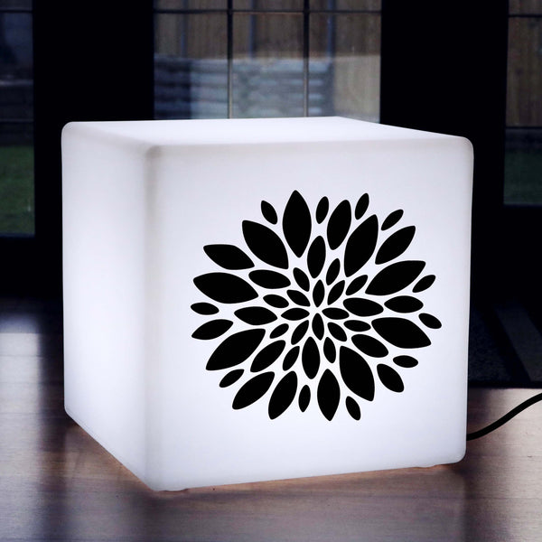 Original Handmade Gift Lamp, Contemporary LED Seat for Party, Cube , E27, White, Flower Burst Gift Lamp