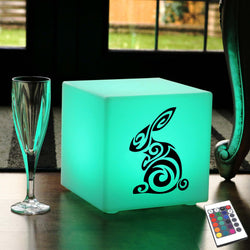 Unique Handmade Gift Light Box, Living Room Multi Colour Wireless Table Lamp Centrepiece for Restaurant, Cube , Rabbit Light Gift