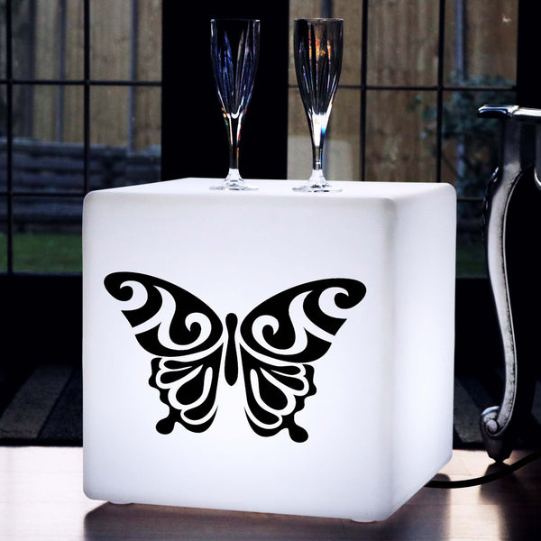 Hand Made Lightbox, Modern Light Up Seat for Event, Cube , E27, White, Butterfly Gift Lamp