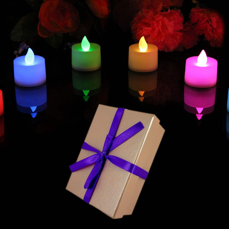 Set of 6 colour changing tealights with box