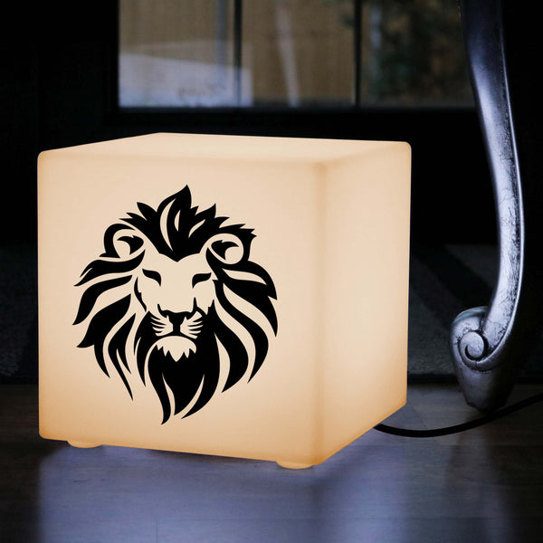 Hand Crafted Thoughtful Gift Light, LED Table Lamp for Anniversary, Cube , E27, Warm White, Lion Light