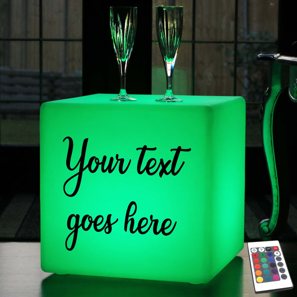 Personalised Sign Gift Light Box, Lounge Remote Controlled Wireless Stool Seat Furniture for Party, Cube 40cm