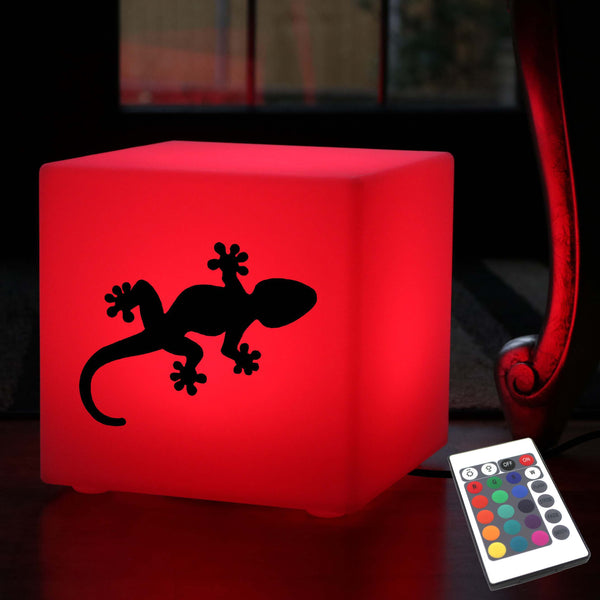 Original Handmade Thoughtful Gift Light, Decorative Colour Change Table Lamp for Wedding, Cube , Mains Powered, Gecko Gift Light
