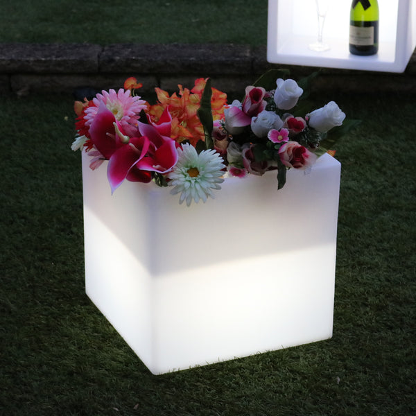 Square LED Flower Vase Plant Pot Centrepiece, Cordless Multi Colour Table Lamp for Living Room
