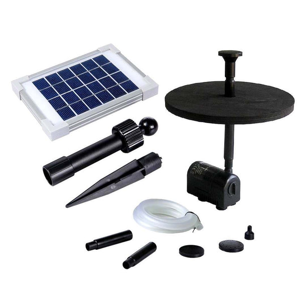 Solar fountain kit with panel, float pad, nozzles and tubing