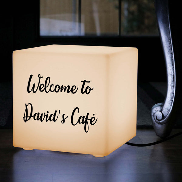 Unique Personalised Light Box, Decorative Table Lamp for Nightclub, Cube 30 x 30 cm, E27, Warm White
