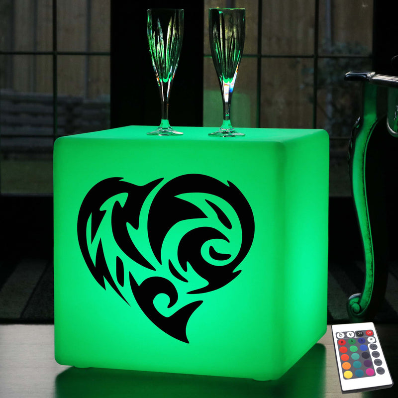 Hand Crafted Gift Light for Her, LED Dimmable Rechargeable LED Seat for Nightclub, Cube , Fire Heart Lamp