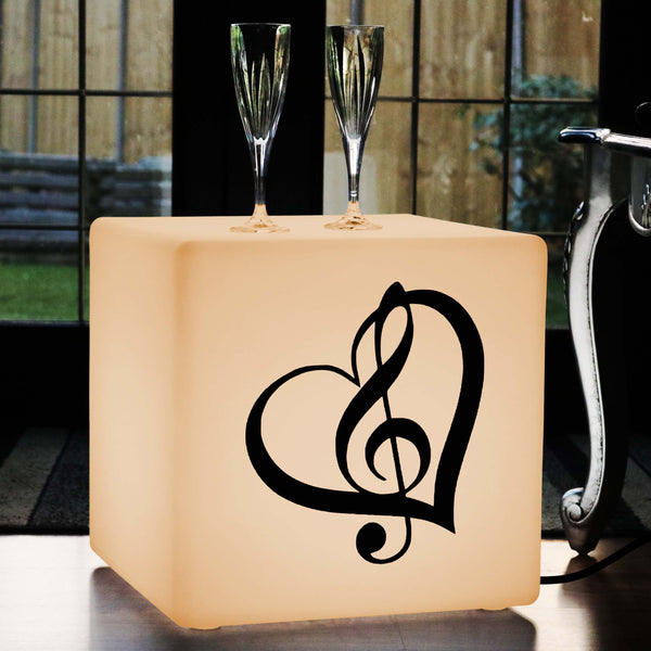 Unique Light Gift for Him, Living Room LED Stool Seat for Hotel, Cube , E27, Warm White, Treble Clef Music Light