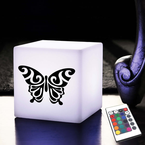 Unique Handcrafted Lightbox, LED Multicolour Battery Operated Table Bedside Lamp for Event, Cube , Butterfly Light