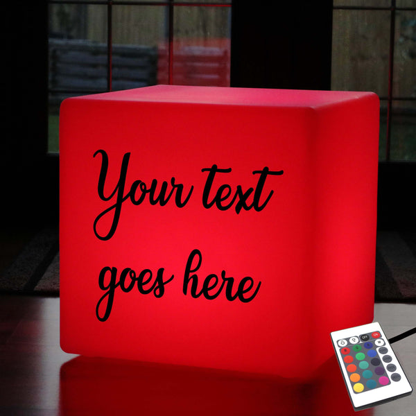Thoughtful Custom Lightbox, Decorative Multi-Colour Stool Seat Furniture for Wedding, Cube 50cm, Mains Powered