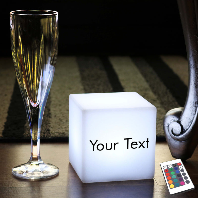 Thoughtful Custom Gift Light Box, Lounge Multi Colour Cordless Night Lamp for Bar, Cube 10 cm
