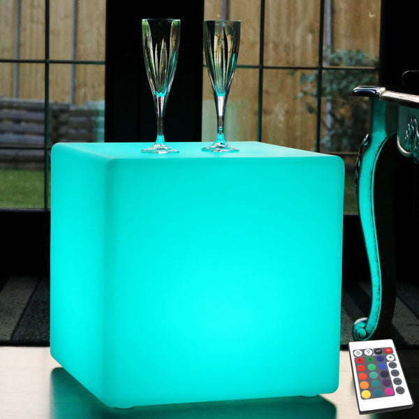 LED Cube Stool Floor Lamp, 40cm Cordless RGB Mood Light / Table / Seat