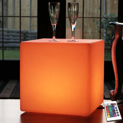 40cm Colour Changing LED Cube Stool Floor Lamp + Remote, Mains Powered