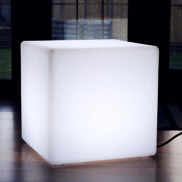 50cm LED Cube Lamp Mood Floor Lighting Mains Powered - White
