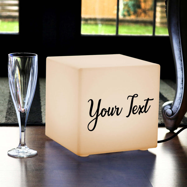 Unique Custom Gift Light Box, Bedroom Table Lamp Centrepiece for Decoration, Cube 20 x 20 cm, E27, Warm White