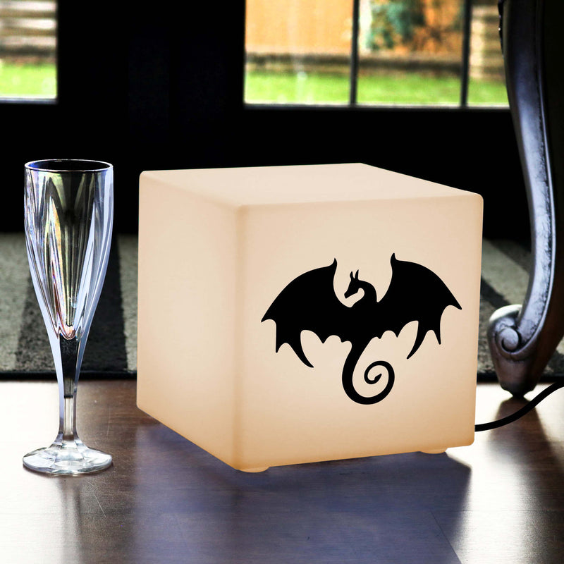 Hand Made Light Box, LED Table Bedside Lamp for Nightclub, Cube , E27, Warm White, Dragon Light Gift