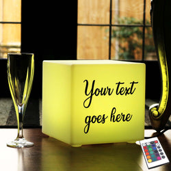 Custom Text Light Box, Bedroom Multi-Colour Table Lamp Centrepiece for Bar, Cube 20 cm, Mains Powered
