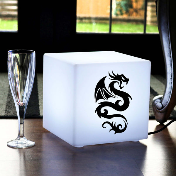 Unique Handcrafted Lightbox, LED Table Lamp for Decoration, Cube , E27, White, Chinese Dragon Gift Lamp