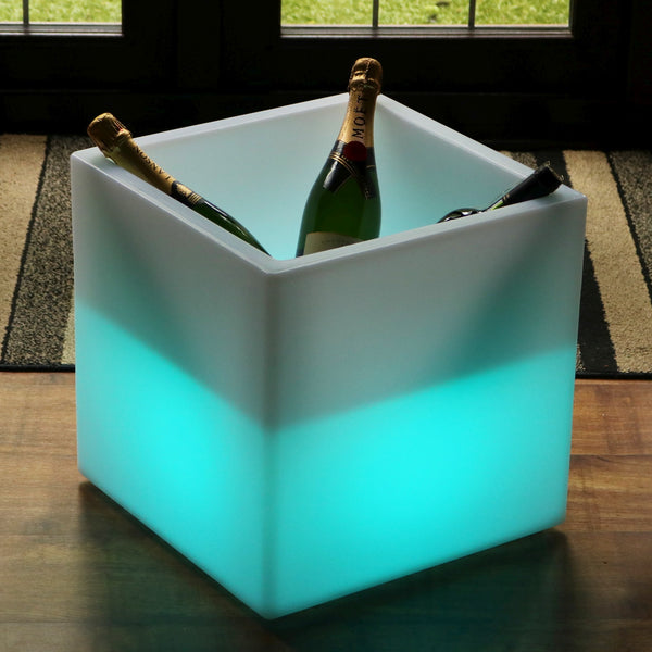Large 40 x 40 cm LED Ice Bucket Wine Champagne Cooler, Bottle Drinks Holder, Multi Colour RGB