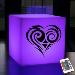 Unique Gift Light Box, Lounge Dimmable Rechargeable Light Up Stool for Bar, Cube , Heart Lamp