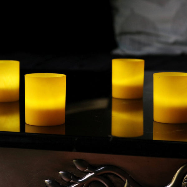 Yellow LED candle holders