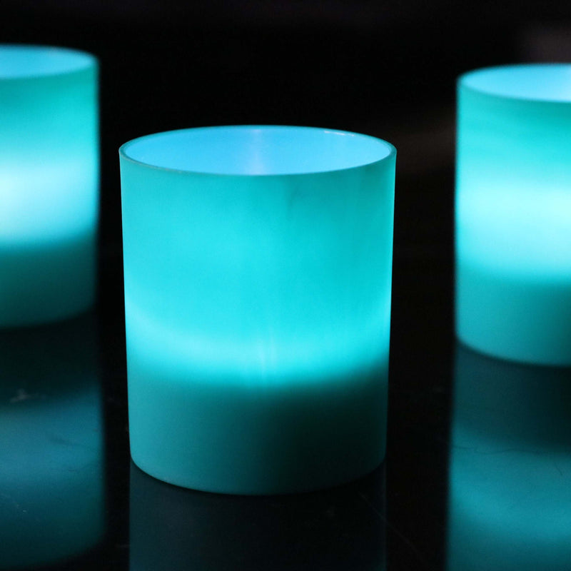 Teal LED candle holders