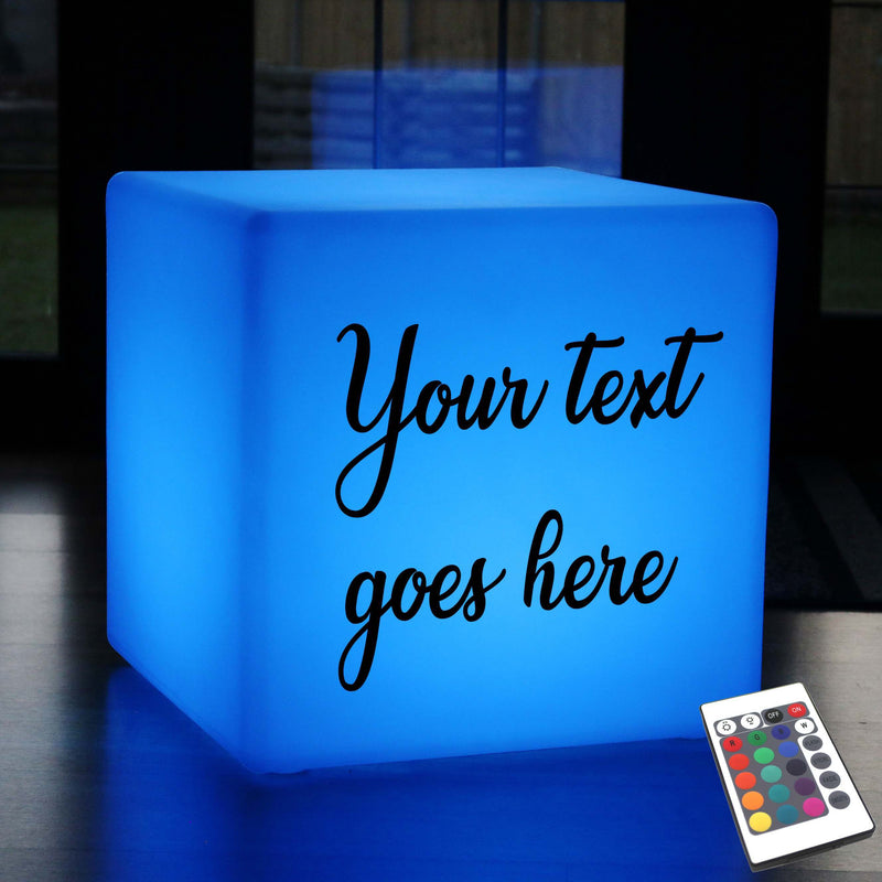 Personalised Gift Lightbox, Modern Remote Controlled Rechargeable Stool Seat Side Table for Event, Cube 60 cm