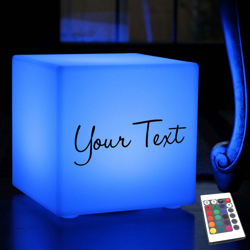 Unique Personalised Light Box, Modern Dimmable Wireless Table Bedside Lamp for Event, Cube 30 x 30 cm