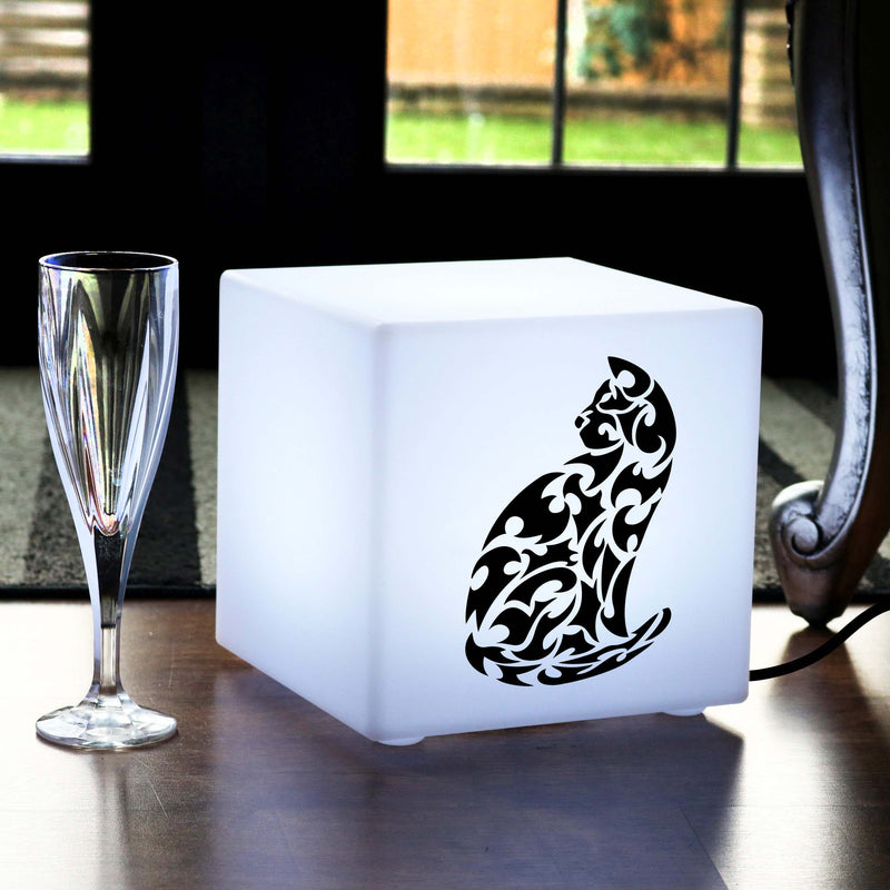 Quirky Gift Light for Him, Lounge Table Bedside Lamp for Night Club, Cube , E27, White, Cat Light Gift