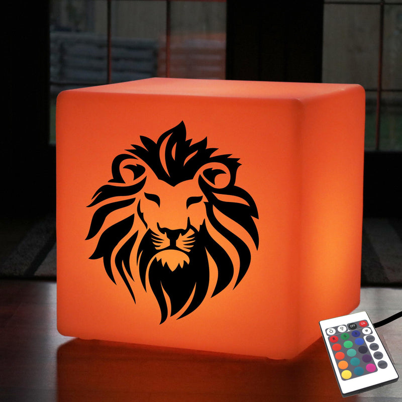 Unique Handmade Light Gift for Her, LED Dimmable LED Seat for Bar, Cube , Mains Powered, Lion Gift Lamp