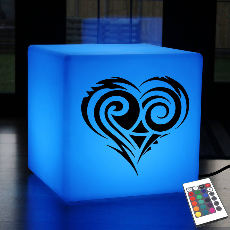 Creative Lightbox, LED Ambient Stool Seat Furniture for Wedding, Cube , Mains Powered, Tribal Heart Gift Lamp