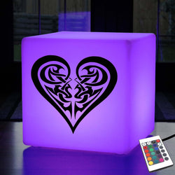 Unique Handcrafted Thoughtful Gift Light, LED Ambient LED Stool for Party, Cube , Mains Powered, Tribal Heart Lamp