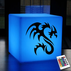 Funky Gift Lamp, Contemporary Dimmable Cordless Stool Seat Furniture for Nightclub, Cube , Tribal Dragon Lamp