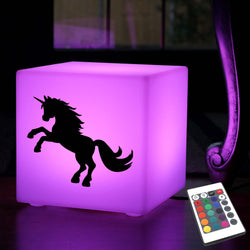 Hand Crafted Light Gift for Him, Contemporary Multicolour Table Bedside Lamp for Nightclub, Cube , Mains Powered, Unicorn Light Gift