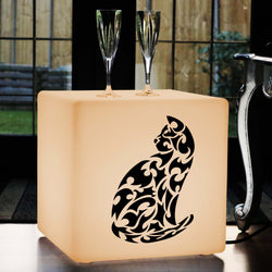 Creative Handmade Gift Light for Her, Lounge Stool Seat Side Table for Birthday, Cube , E27, Warm White, Cat Lamp