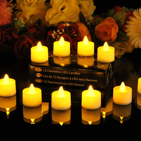 12 amber battery tealight candles