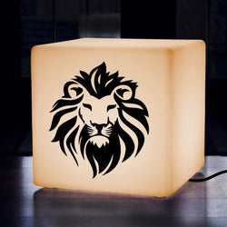 Unique Handmade Gift Light Box, LED Floor Lamp Stool for Event, Cube , E27, Warm White, Lion Lamp