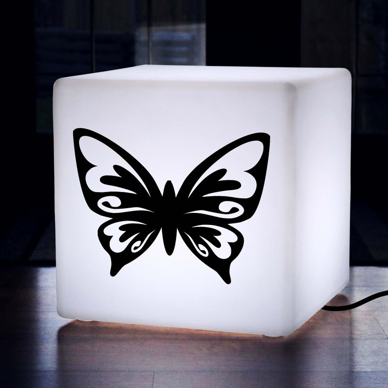 Hand Crafted Gift Light, LED Illuminated Stool for Event, Cube , E27, White, Butterfly Gift Light