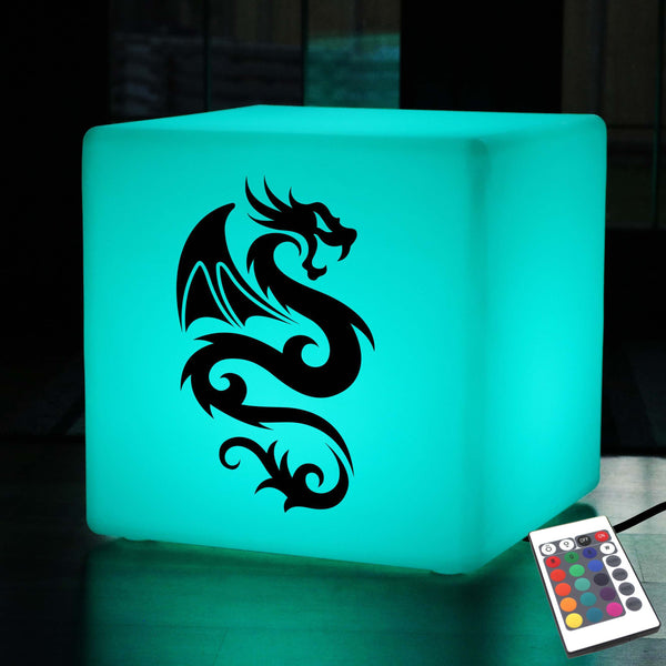 Quirky Light, Modern Ambient Illuminated Stool for Decoration, Cube , Mains Powered, Chinese Dragon Lamp