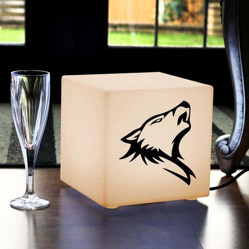 Quirky Light Gift for Him, Living Room Table Lamp for Event, Cube , E27, Warm White, Wolf Lamp Gift